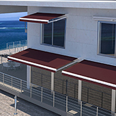 folding arm awning on residential complex