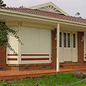roller shutters on house facade